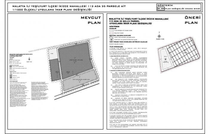 İkizce Mahallesi 113 Ada 35 Parsel Numaralı Taşınmaza Ait Uygulama İmar Planı Değişikliği